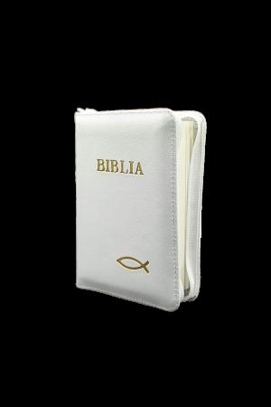 Biblia - copertă din piele și fermoar 043 PF - alb