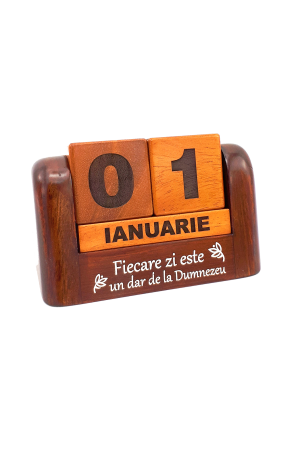 Calendar din lemn pentru birou - Fiecare zi este un dar de la Dumnezeu - GDC02-602R