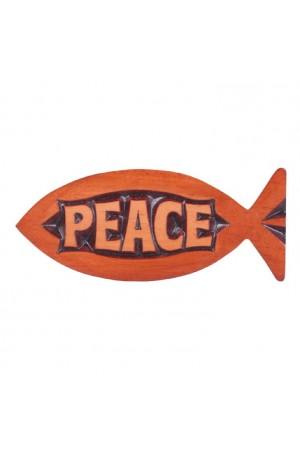 Magnet din lemn, în formă de pește - Peace - CFM-38