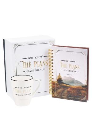 Set cană ceramică + jurnal cu spirală -- For I know the plans...