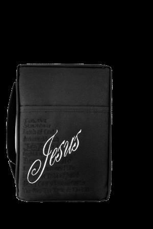 "Husă Biblie din material textil negru - ""Jesus"" - format mediu"