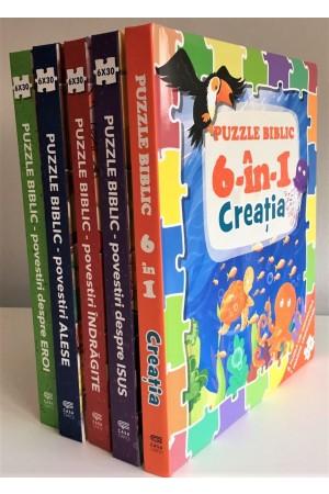Puzzle biblic - set 5 cărți-puzzle