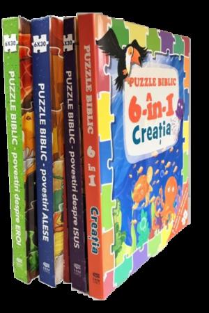 Puzzle biblic - set 4 cărți-puzzle