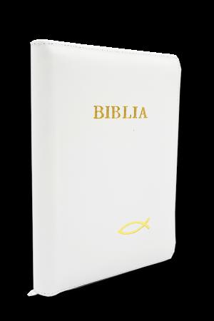 Biblia - copertă din piele și fermoar 053 PF - alb