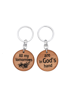 Breloc din lemn - All my tomorrows are in God's hands - GK05-592