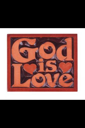 """Magnet din lemn - God is Love, cu """"ramă"""" - CAM-02"""