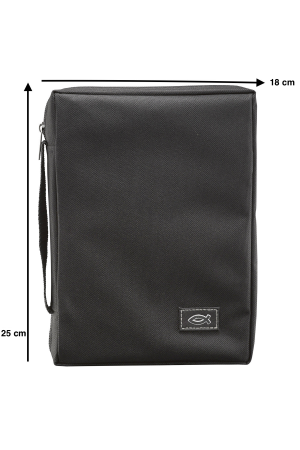 "Husă Biblie din material textil negru - emblemă ""pește"" - format mediu (L)"