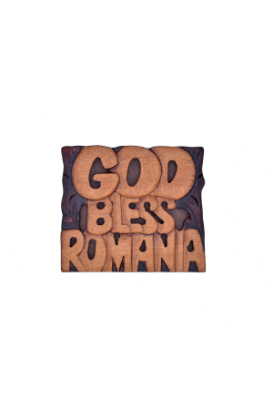 Magnet din lemn - God Bless Romania - AM-155a