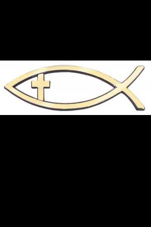 Emblemă auto - pește auriu cu cruce