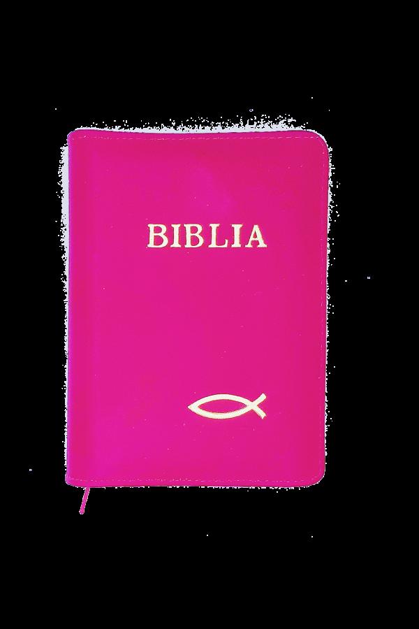 Biblia - copertă din piele și fermoar 043 PF - roz