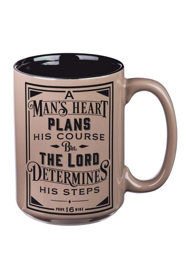 Cană ceramică -- A man's heart plans his course...