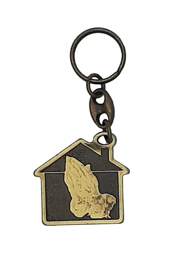 Breloc metalic - Eu și casa mea - bronz