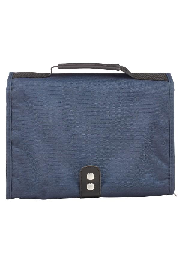 """Husă din material textil bleumarin, cu 3 compartimente - emblemă """"pește"""" - format mare"""