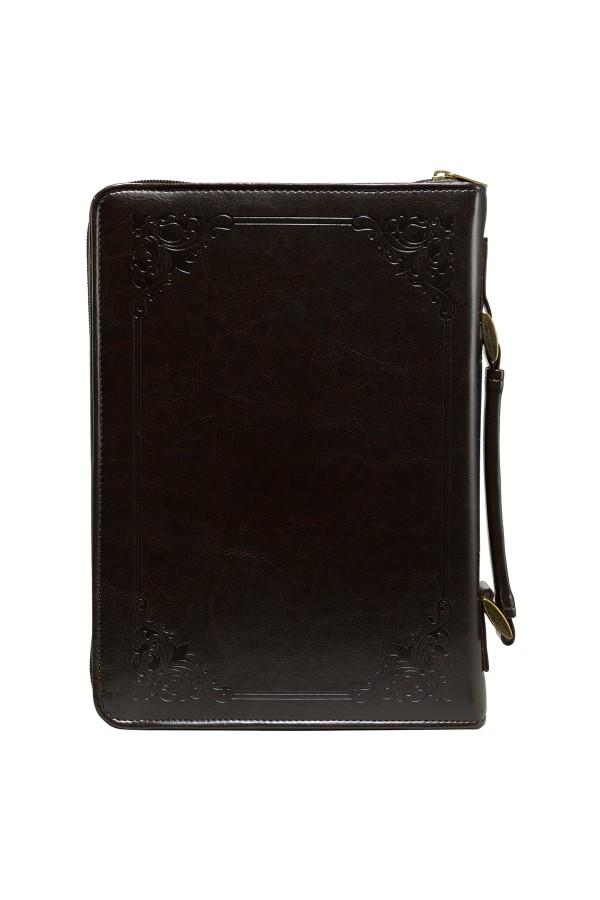 """Husă Biblie din imitație de piele maro - """"The Holy Bible"""" - format mare (L)"""