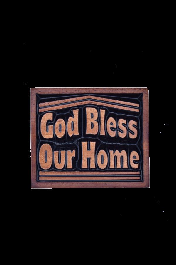 Magnet din lemn - God Bless our Home - CAM-47