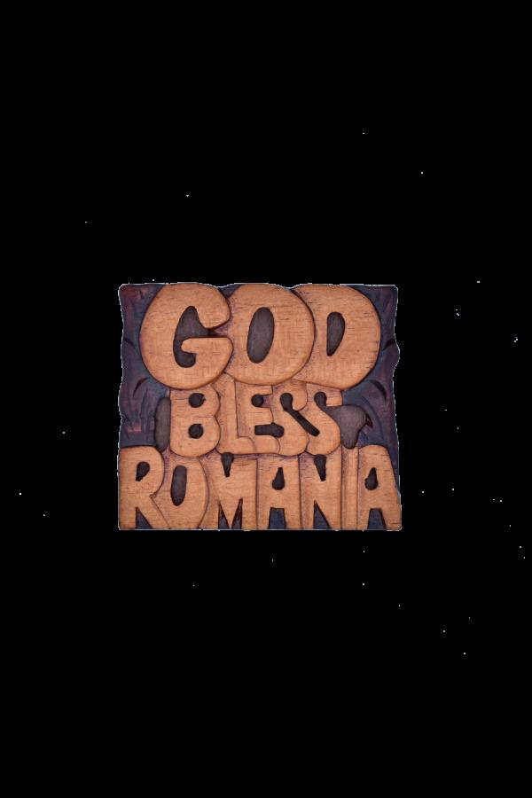 Magnet din lemn - God Bless Romania - AM-155a