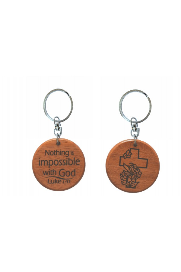 Breloc din lemn - Nothing is impossible with God - GK05-357A