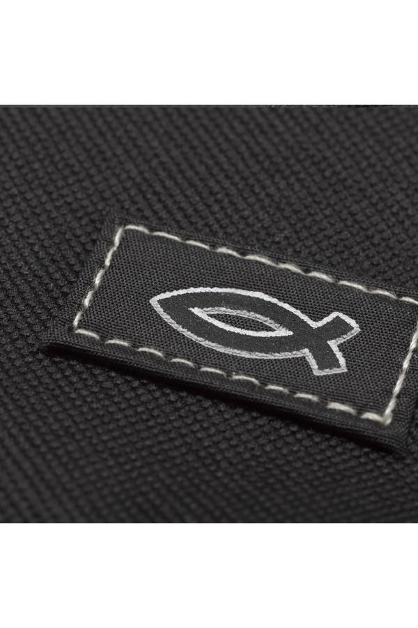 "Husă Biblie din material textil negru - emblemă ""pește"" - format mediu"